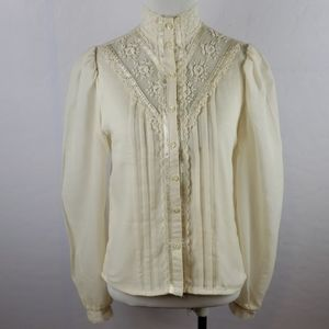 VINTAGE 70'S JESSICA GUNNIES Ivory Blouse Size 7